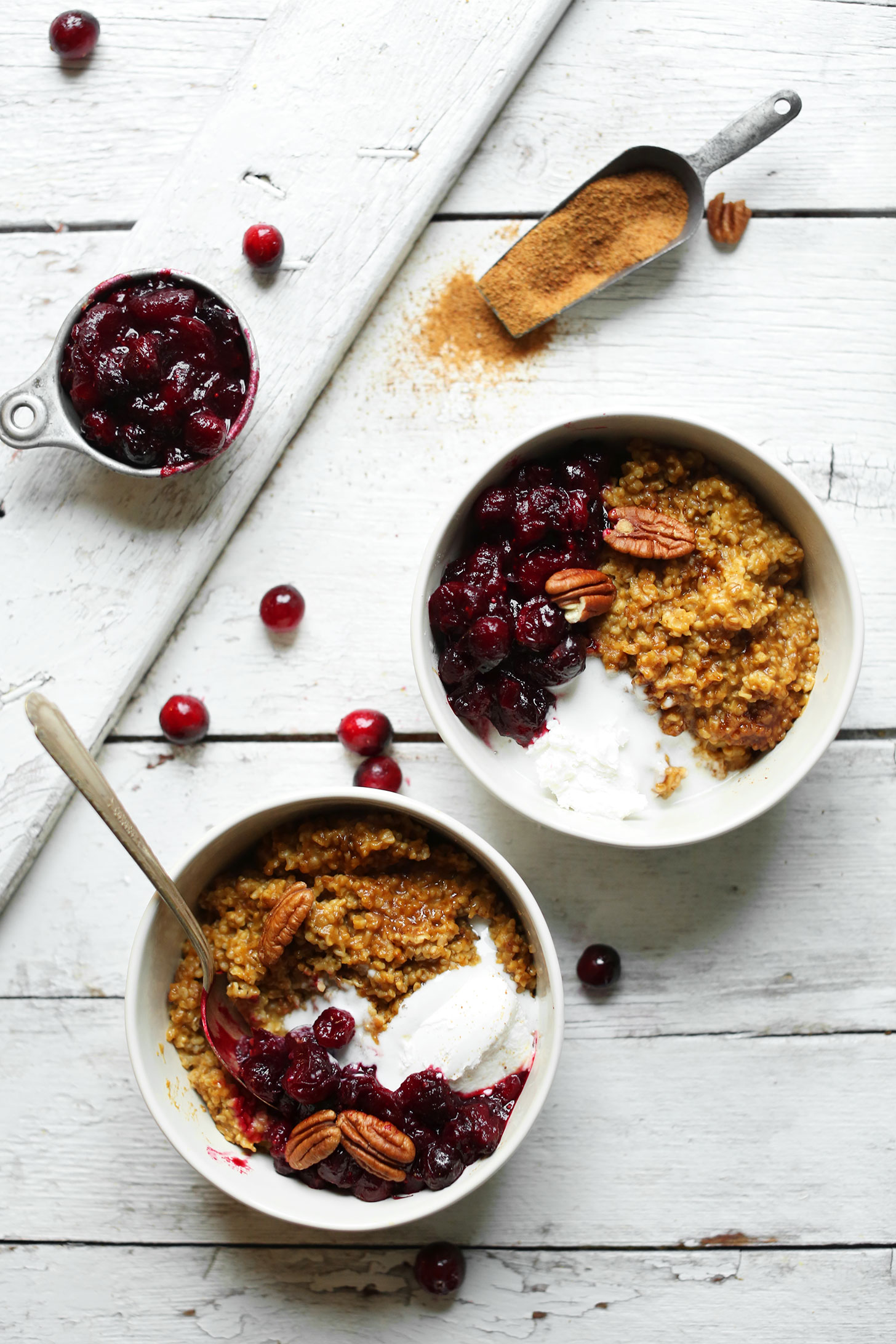 Bowls of Cranberry Pumpkin Steel Cut Oats for a cozy fall breakfast