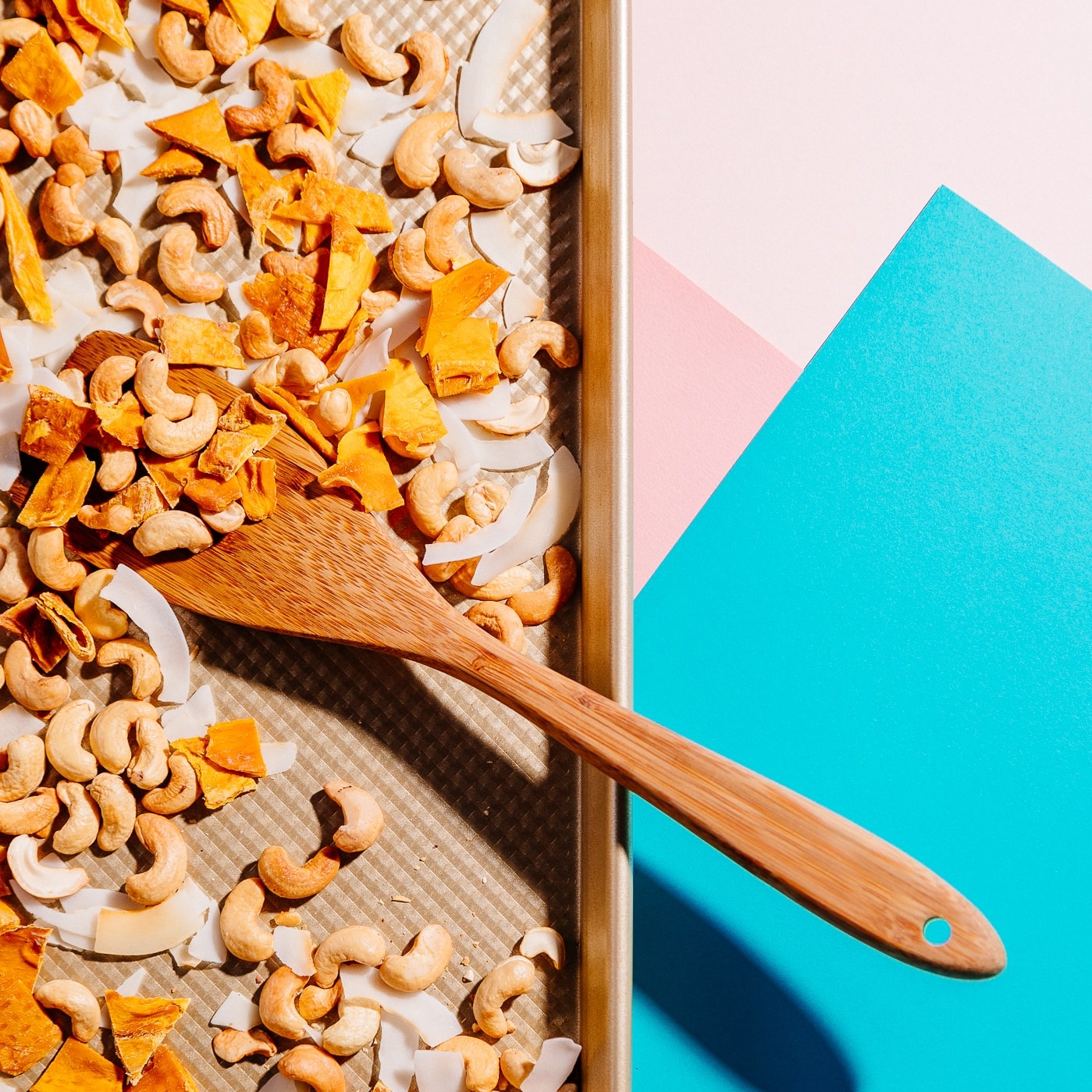 Tray of Tropical Trail Mix for a delicious and easy vegan snack