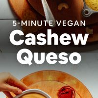Bowl of Vegan Cashew Queso on a cutting board