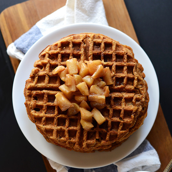 Plate of Vegan Waffles topped with Cinnamon Apples