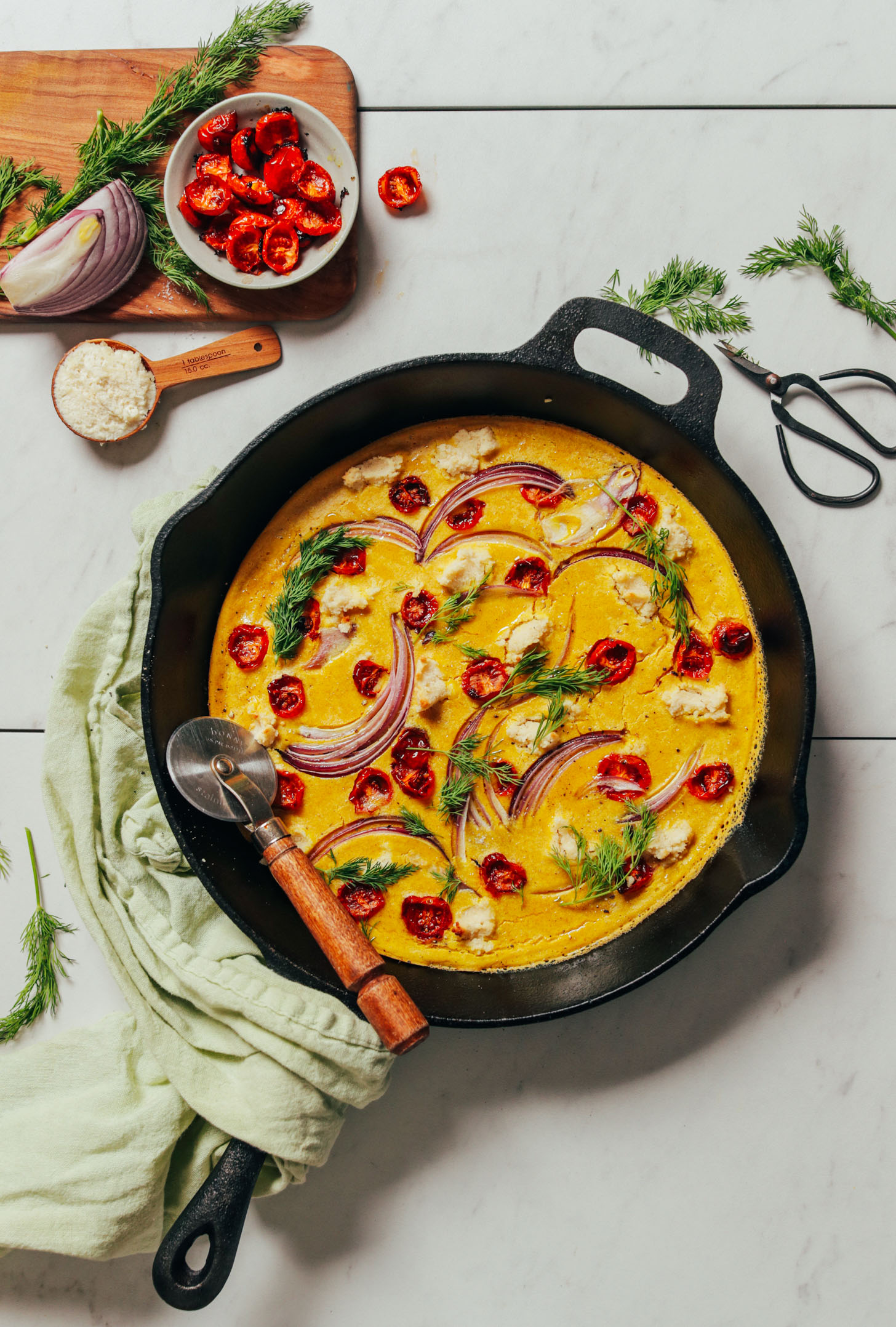 Skillet filled with our Vegan Frittata recipe made with mung beans
