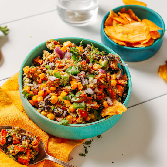 Bowls with our Southwest Black Bean Dip recipe and with plantain chips
