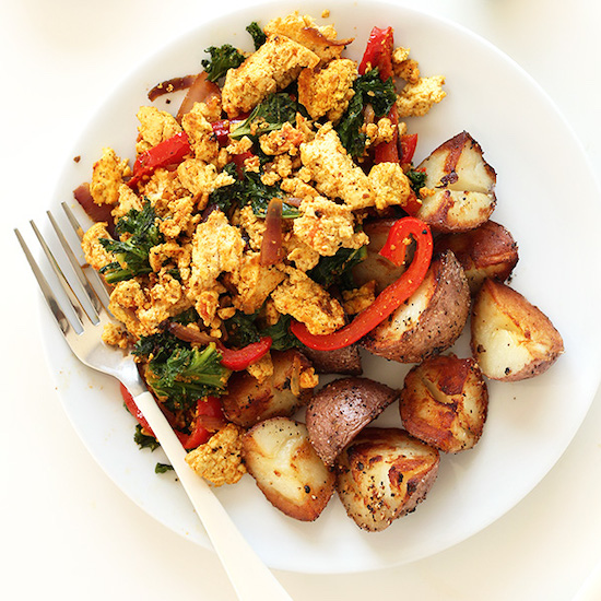 Plate of our Easy Southwest Tofu Scramble with potatoes