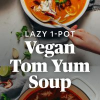 Pot and bowl of 1-Pot Vegan Tom Yum Soup