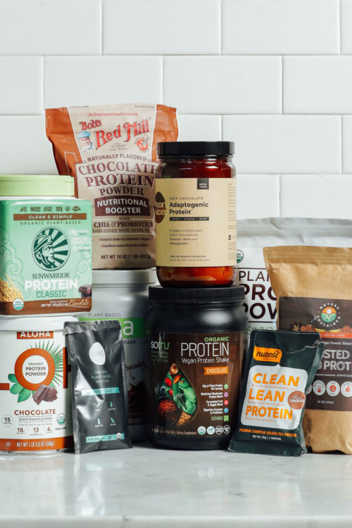 Collection of plant-based chocolate protein powders we reviewed