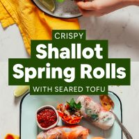 Plate and tray of our delicious Crispy Shallot Spring Rolls with Seared Tofu