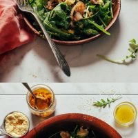 Wood bowl and plate of our Lemony Arugula Salad with Crispy Shallot