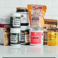 Assortment of protein powders for our plant-based protein powder review