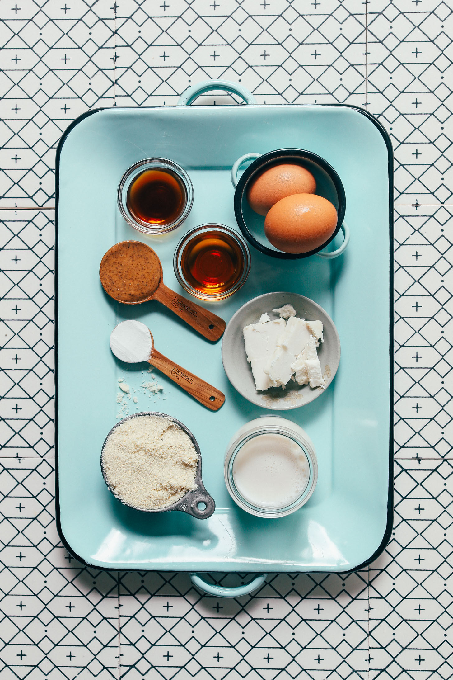 Tray of ingredients for making our low sugar Grain-Free Pancake recipe