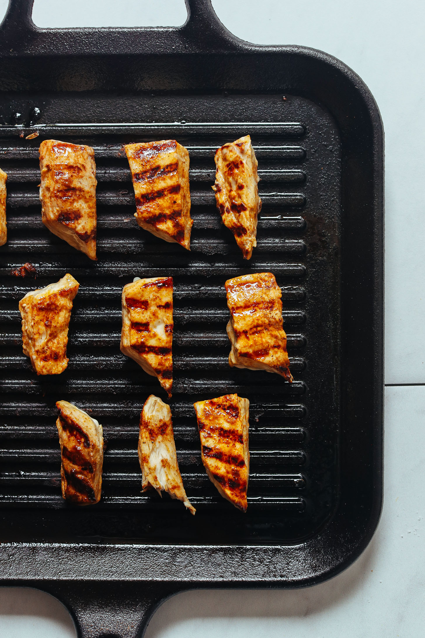 Grill pan with perfectly cooked fish for homemade fish tacos