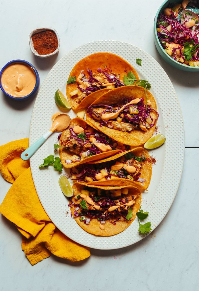 Grilled Fish Tacos with Pineapple Cabbage Slaw (30 Minutes!)