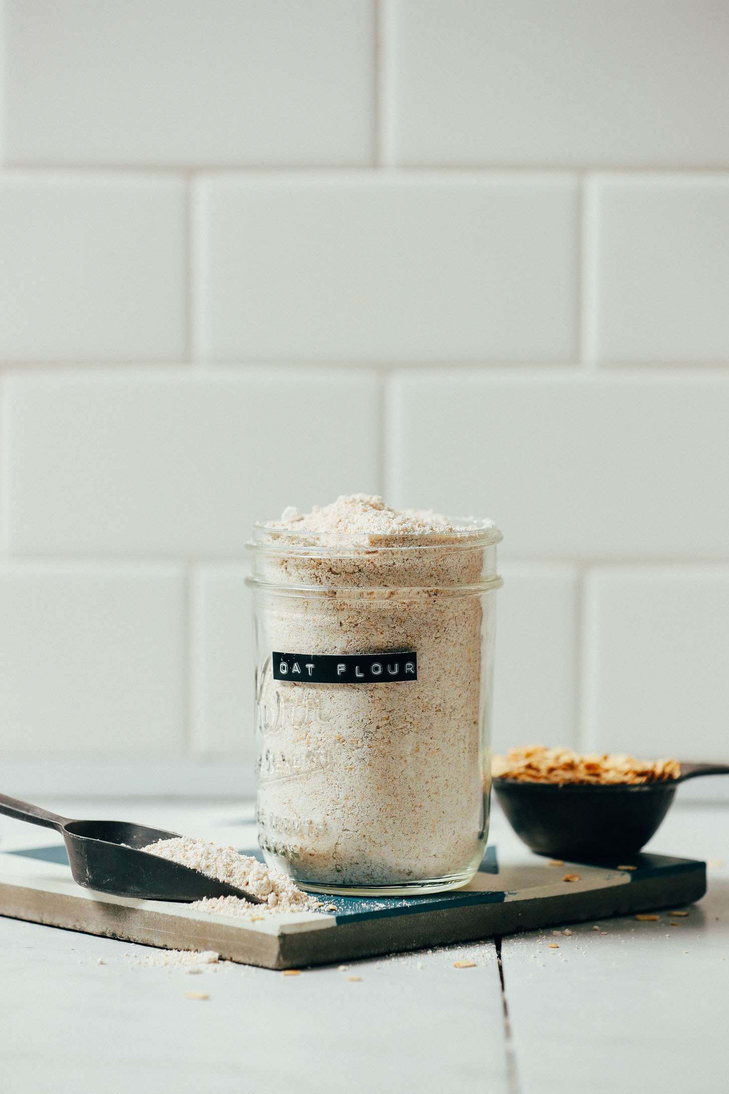 Jar of oat flour for our tutorial on how to make and use gluten-free flours