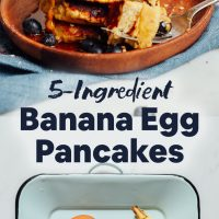 Plate of ingredients and tray of our simple Banana Egg Pancakes recipe