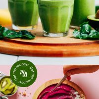 Green smoothies and smoothie bowls with overlaid text for a vegan smoothie roundup