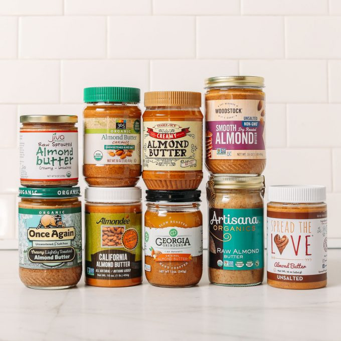 Assortment of almond butter brands for our unbiased view of popular brands
