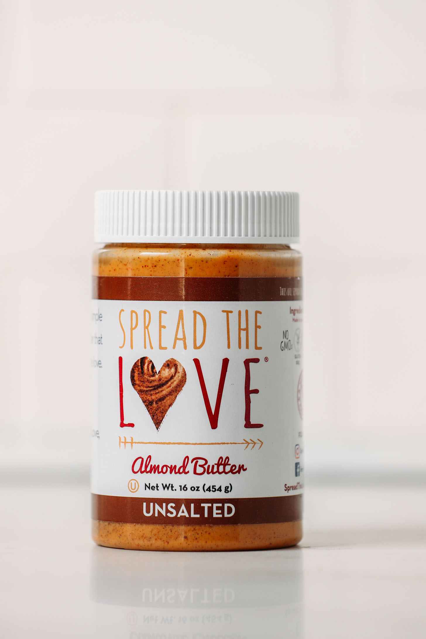 Jar of Spread the Love Almond Butter for our unbiased almond butter brands review