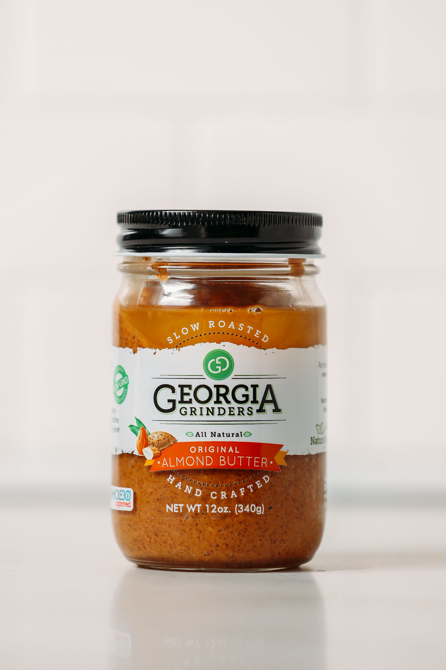 Jar of Georgia Grinders Original Almond Butter for our side by side review of popular almond butter brands