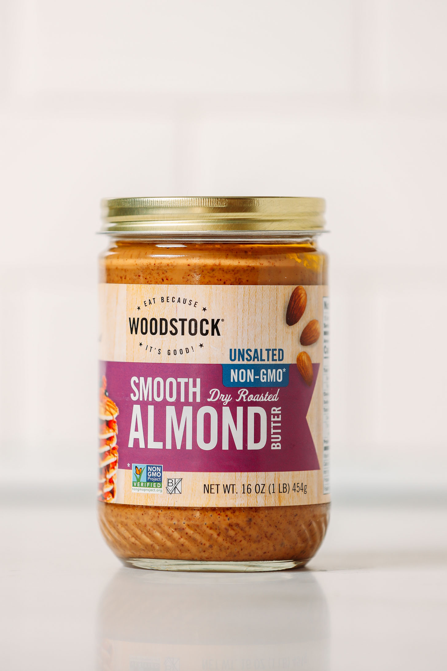 Jar of Woodstock Smooth Almond Butter for our review of the top almond butter brands