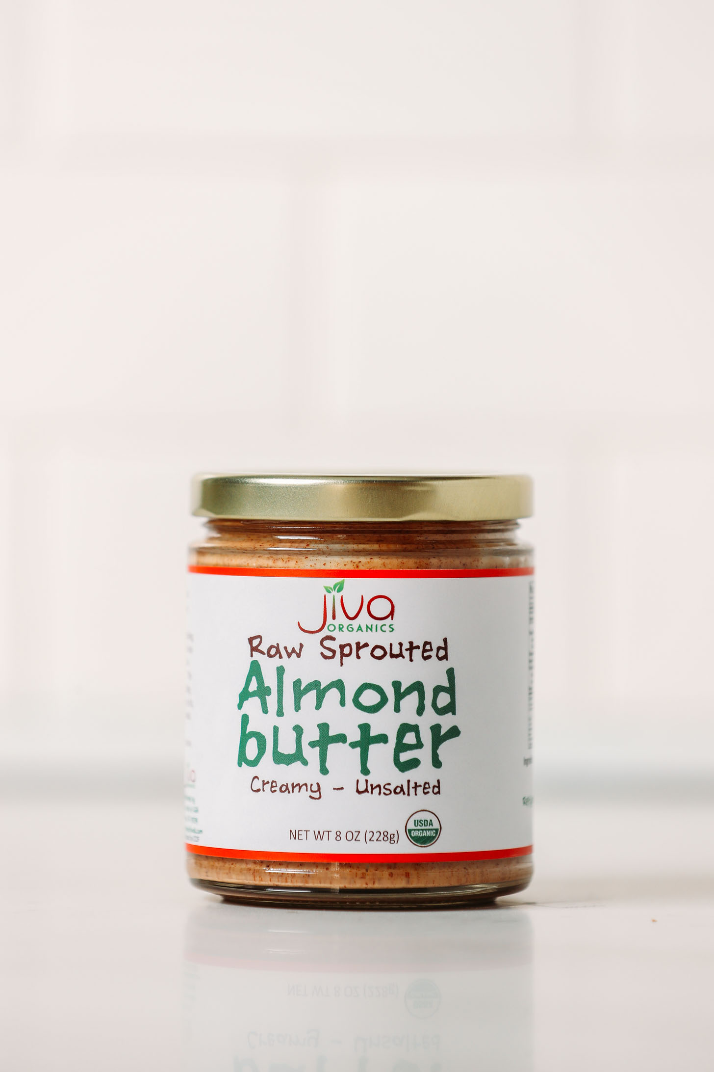 Jar of Jiva Raw Sprouted Almond Butter for our side by side review of popular almond butter brands