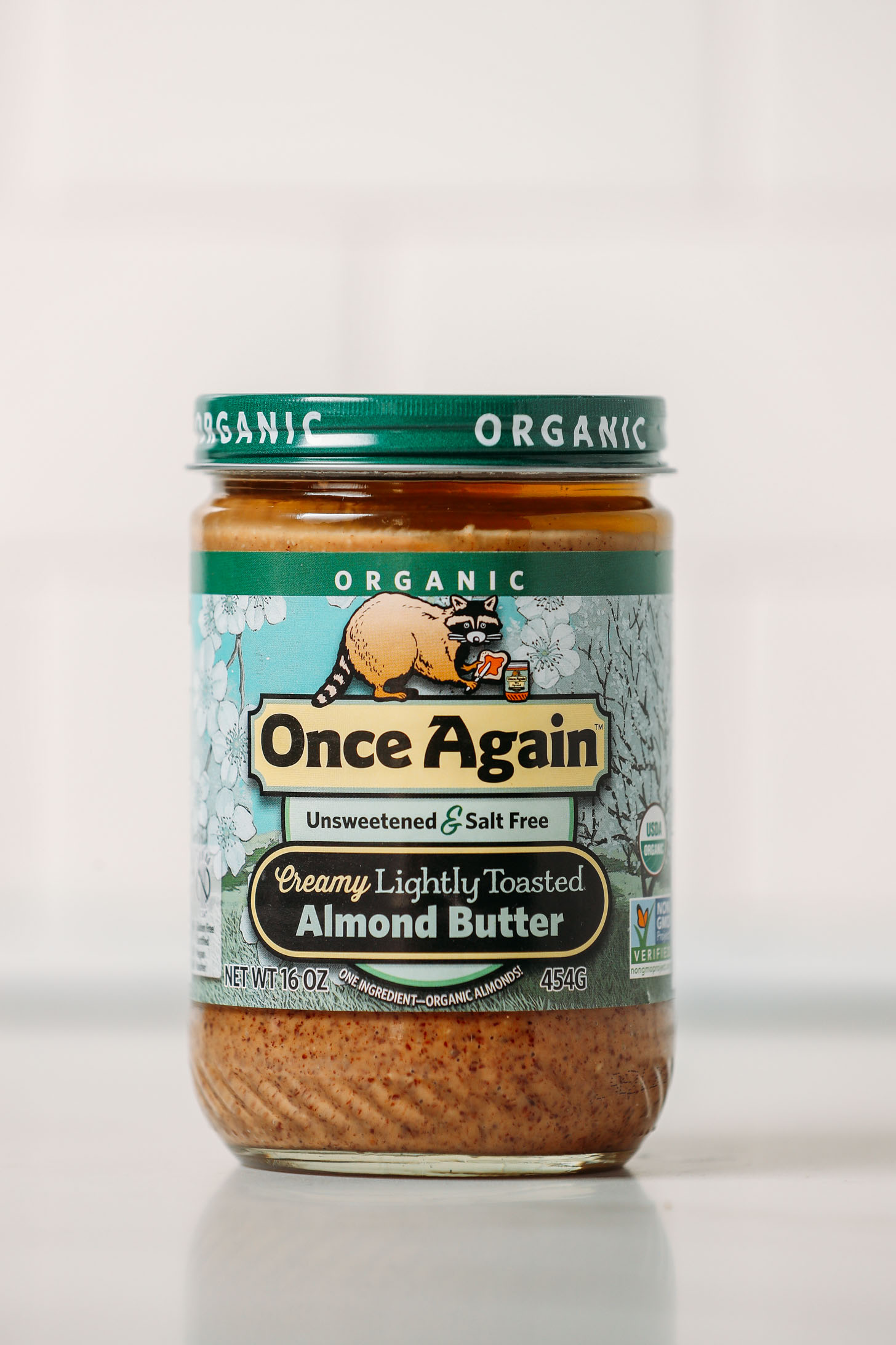 Jar of Once Again Creamy Lightly Toasted Almond Butter for our almond butter review