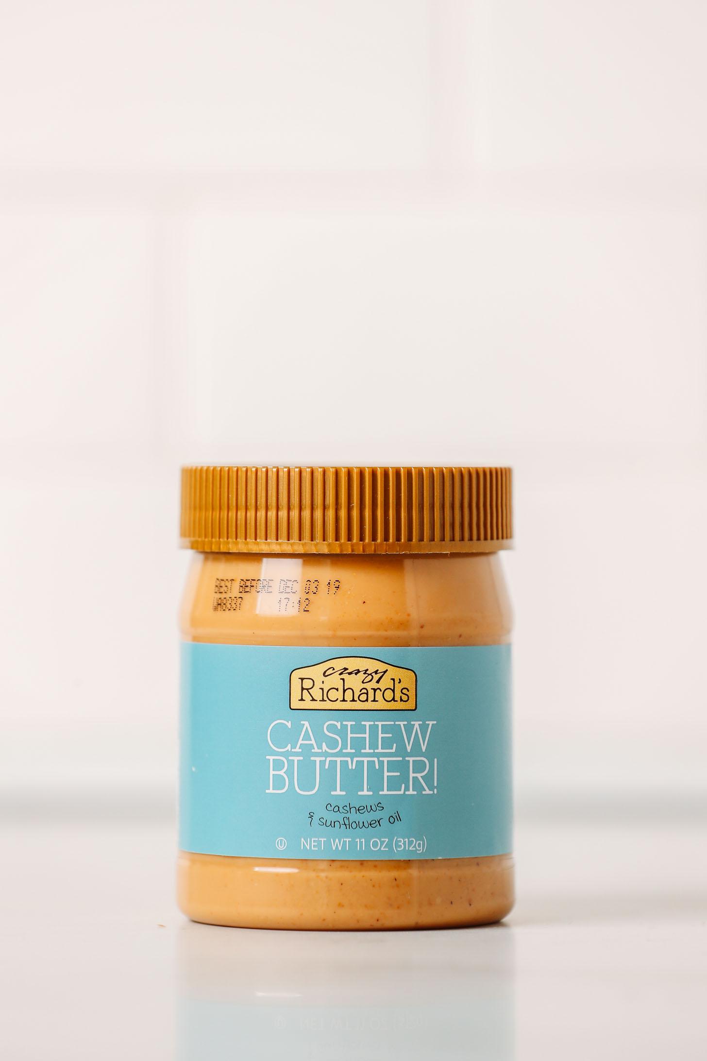 Jar of Crazy Richard's Cashew Butter as part of our cashew butter brands review