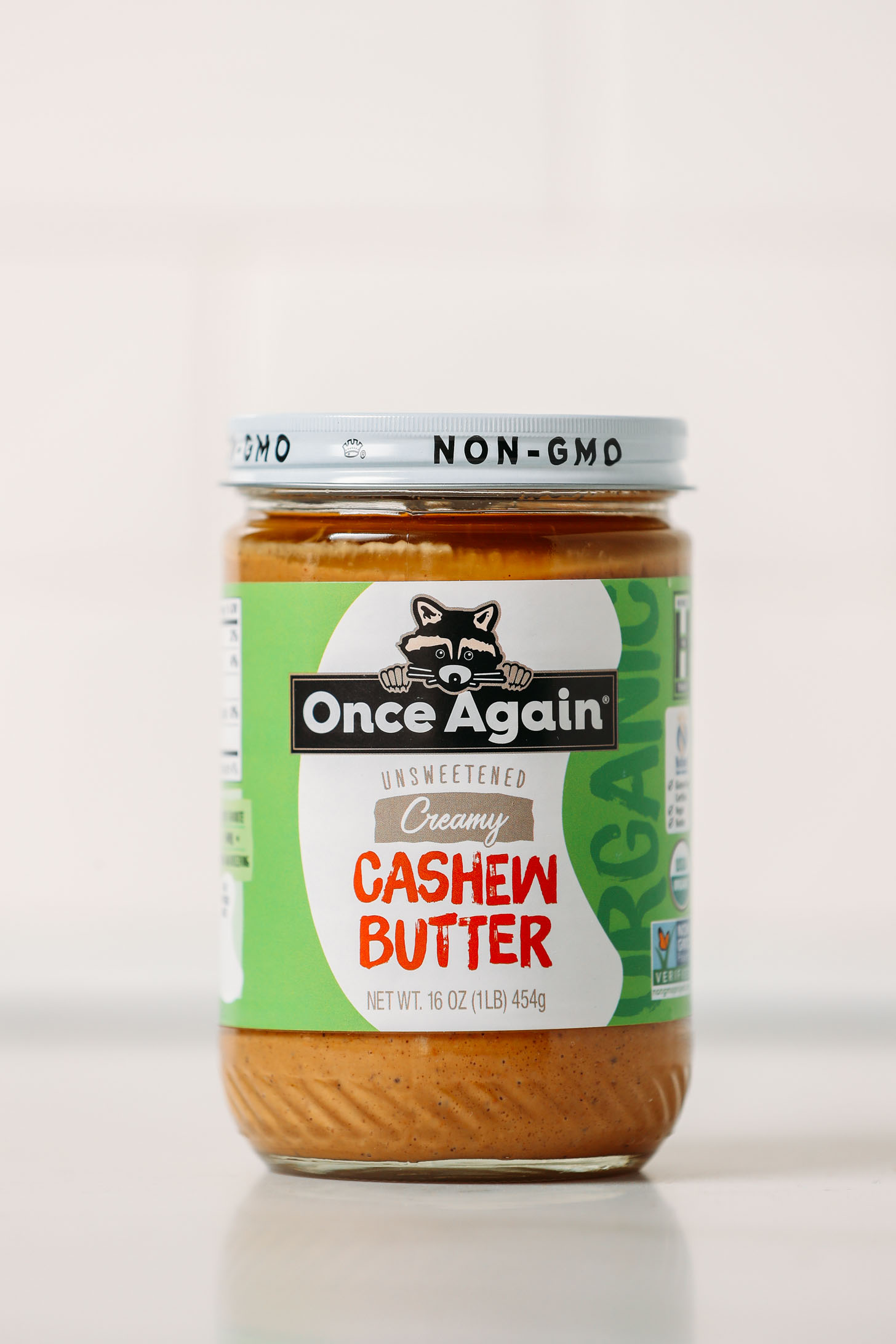 Jar of Once Again Creamy Cashew Butter for our unbiased cashew butter review