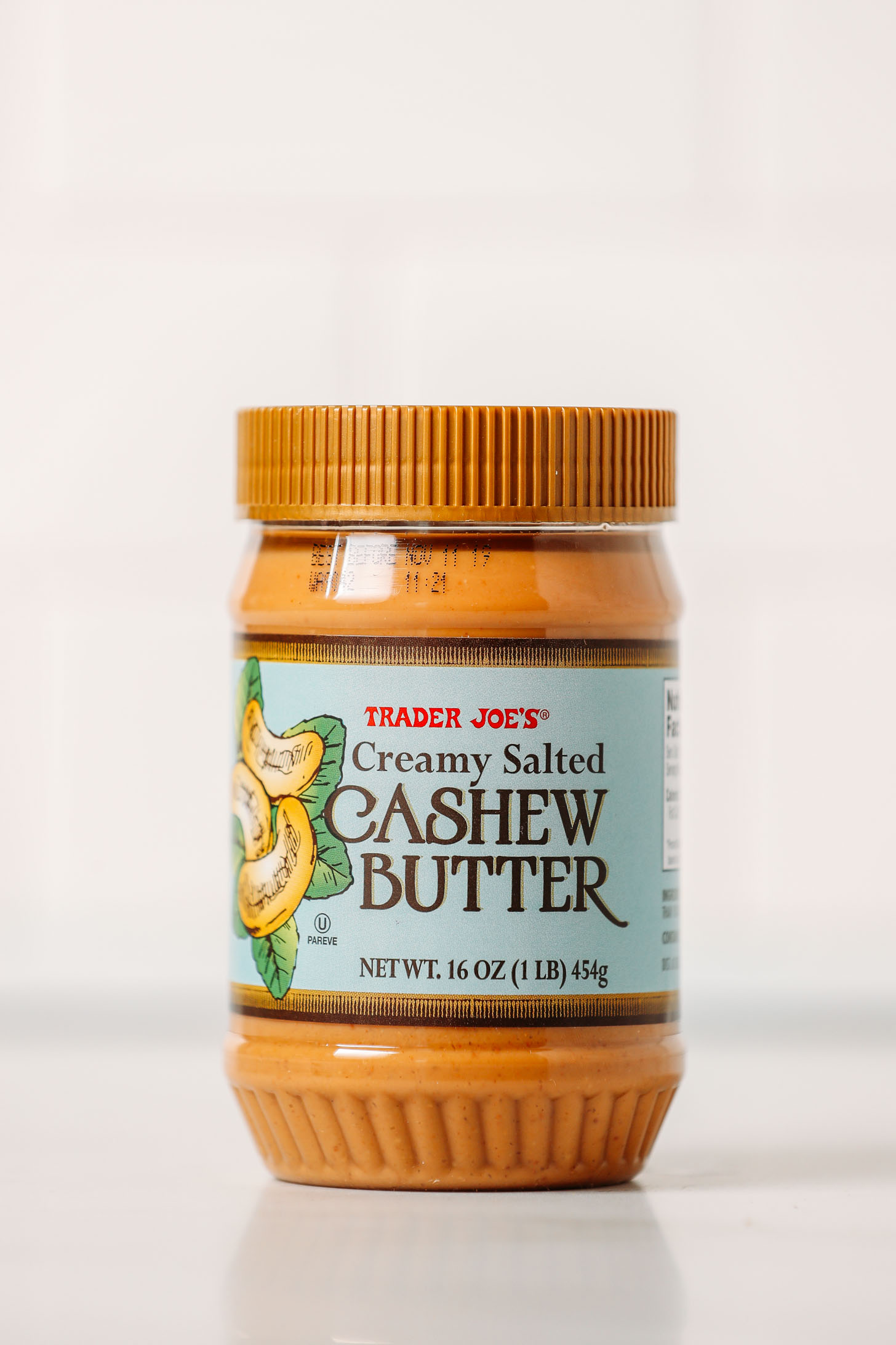 Jar of Trader Joe's Creamy Salted Cashew Butter for our unbiased cashew butters review