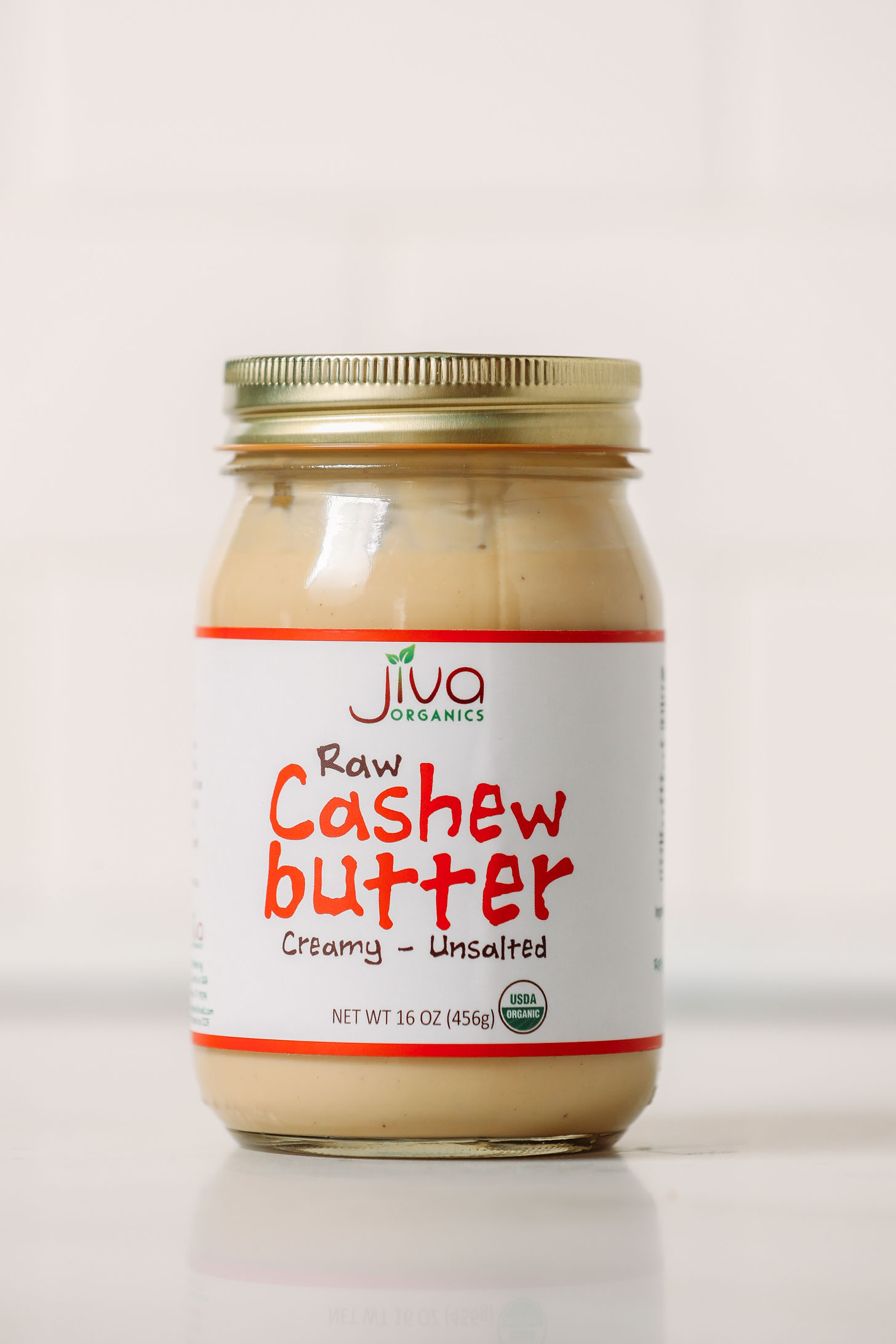 Jar of Jiva Creamy Raw Cashew Butter for our favorite brand of cashew butter