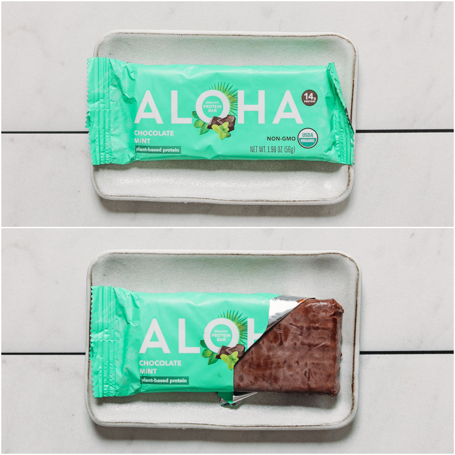 Open and closed package of an Aloha Chocolate Mint protein bar for our plant-based protein bars review