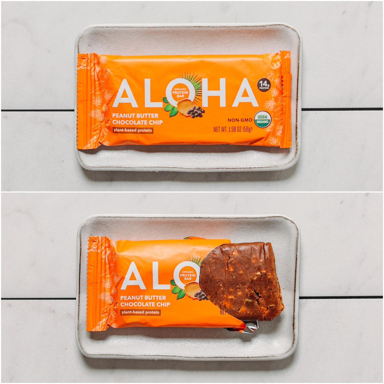 Open and closed package of an Aloha Peanut Butter Protein Bar for our unbiased protein bar review
