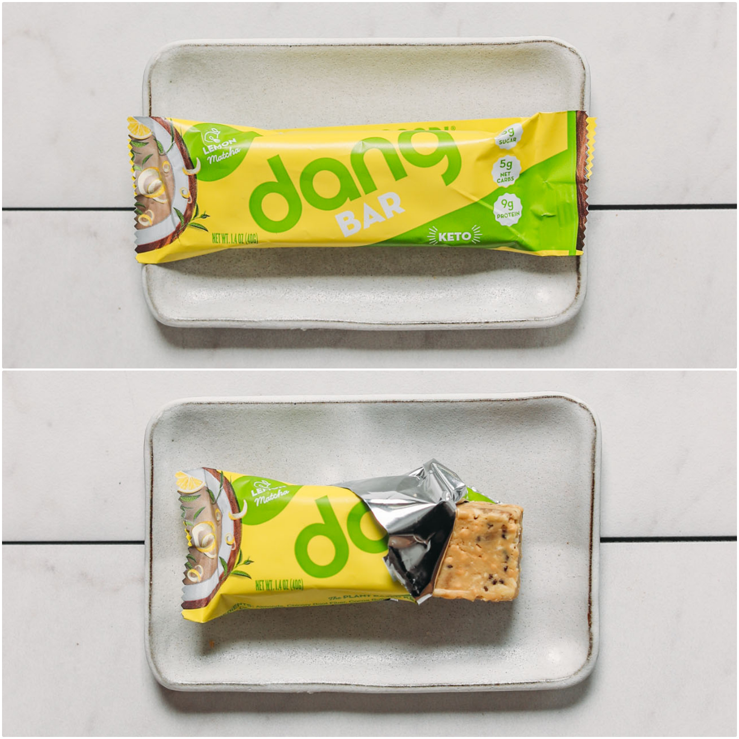 Closed and opened Dang Lemon Matcha protein bar for our unbiased plant-based protein bar review