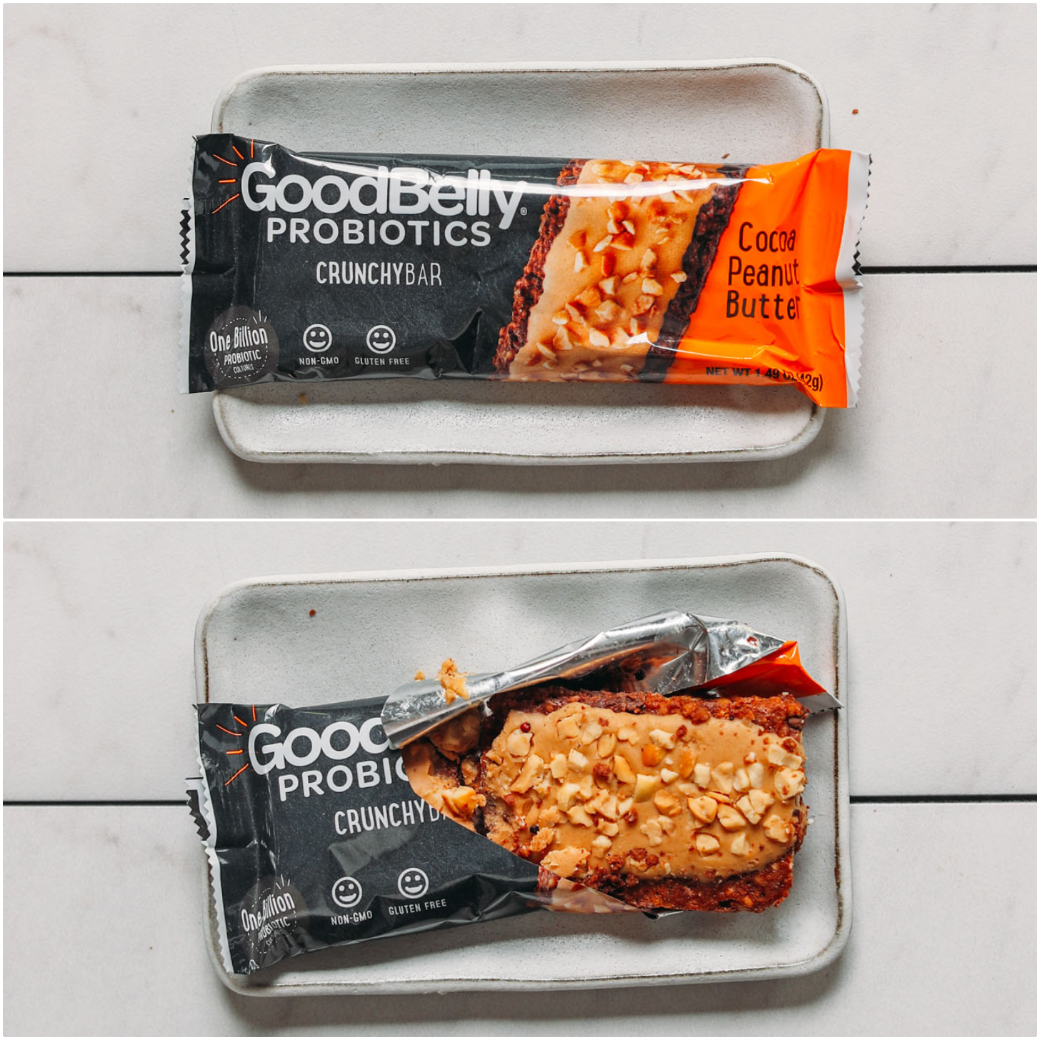 Open and closed package of a Goodbelly Probiotic protein bar for our review of plant-based protein bars