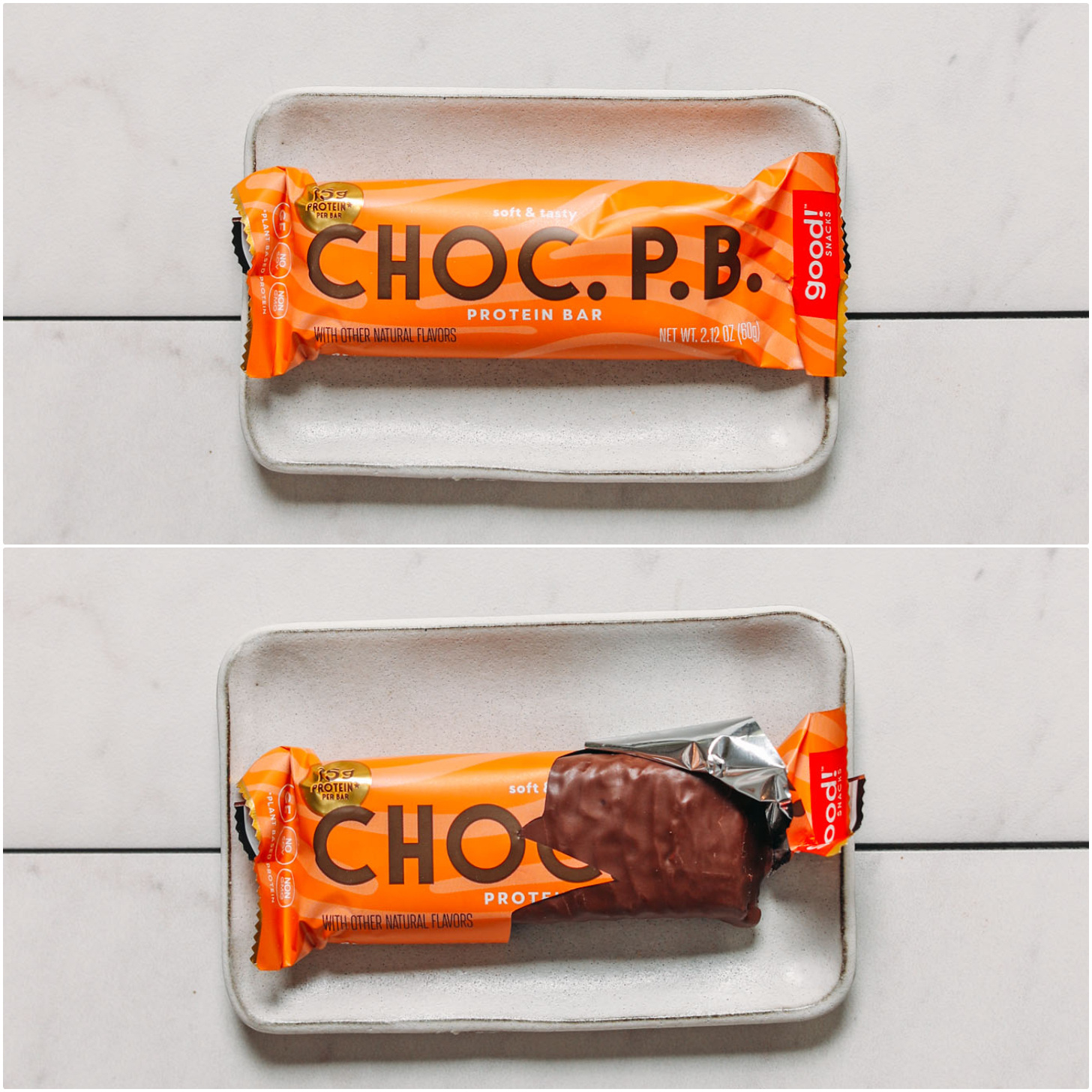 Closed and open package of a Good Snacks Chocolate Peanut Butter protein bar for our unbiased review