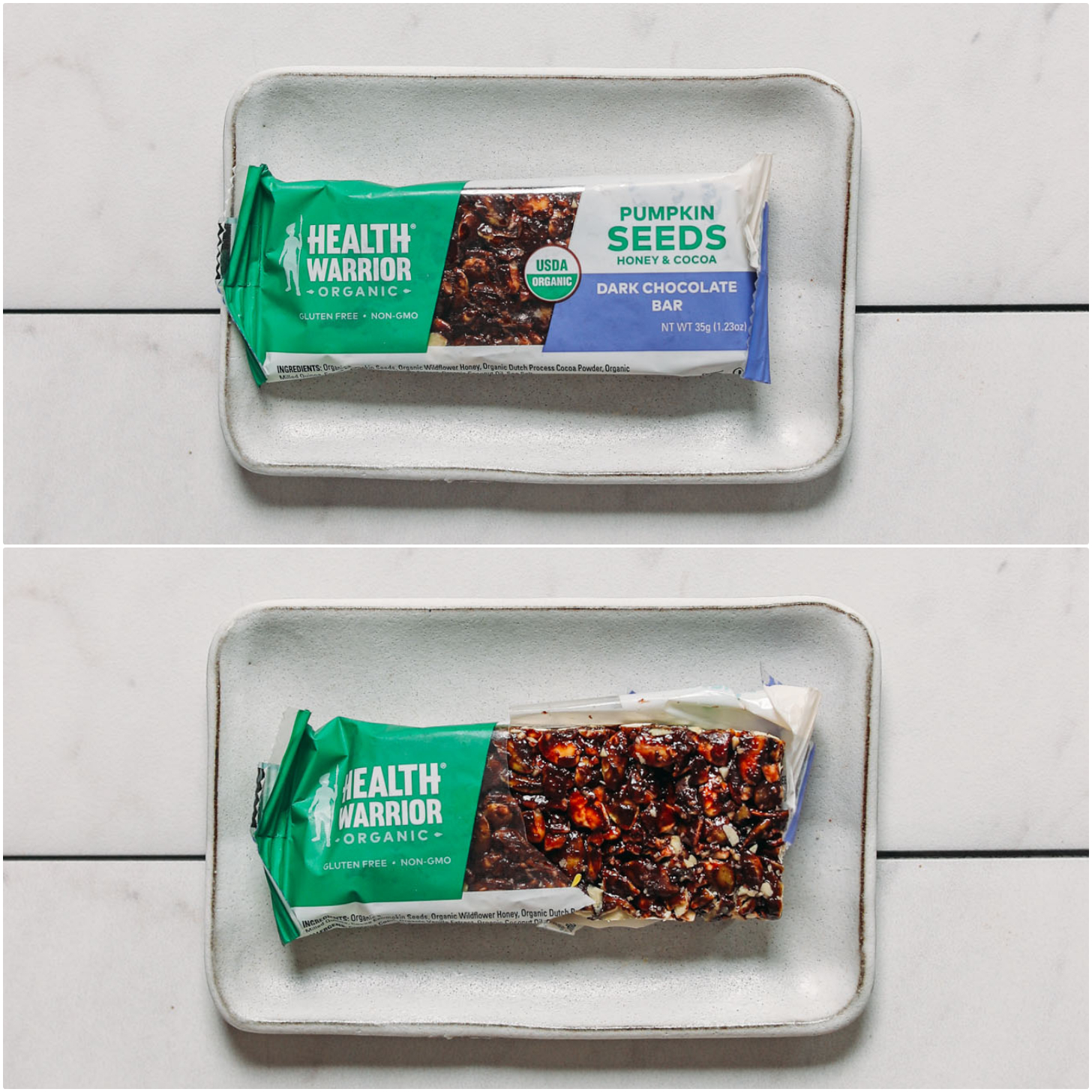 Closed and open package of a Health Warrior Pumpkin Seed Protein Bar for our unbiased protein bar review