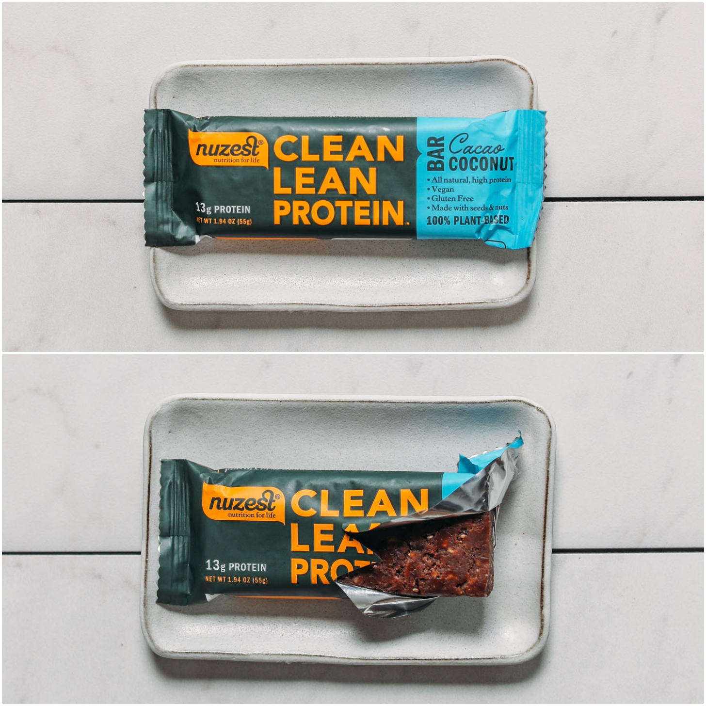 Plate with open and closed package of a Nuzest Cocoa Coconut protein bar for our unbiased review