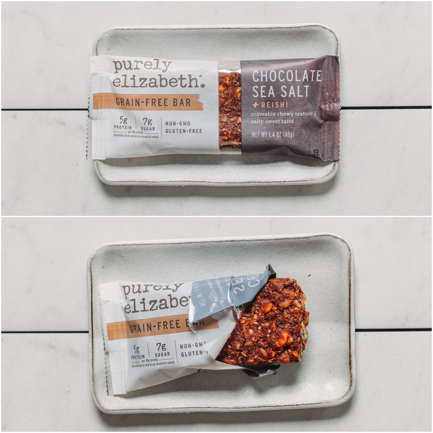 Plate with an open and closed Purely Elizabeth protein bar with reishi mushrooms for our plant-based protein bar review