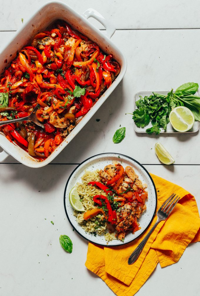 Herb Baked Fish with Rainbow Bell Peppers