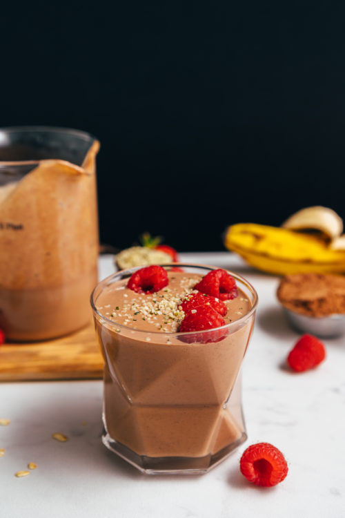 Geometric glass and measuring glass of our Chocolate Protein Shake made without protein powder