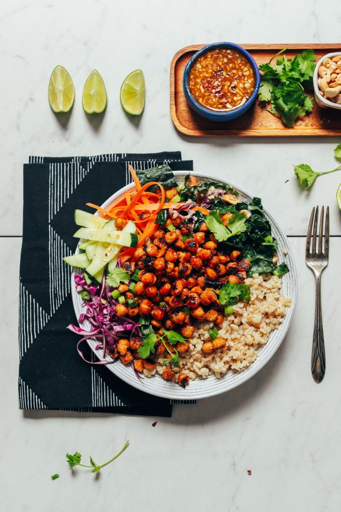 Crispy Miso Chickpea Bowls with Garlic Sesame Dressing