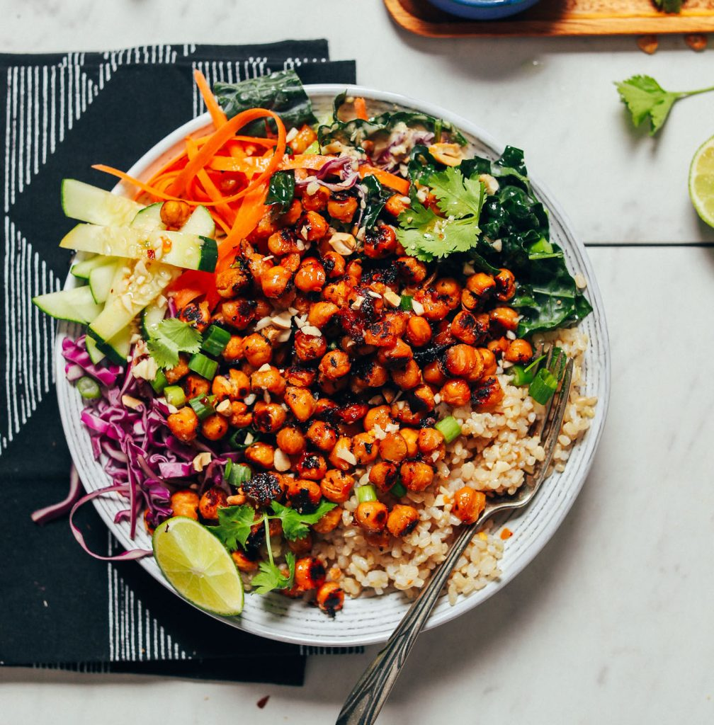 Gluten-Free vegan Crispy Miso Chickpea Bowl with fresh vegetables and brown rice