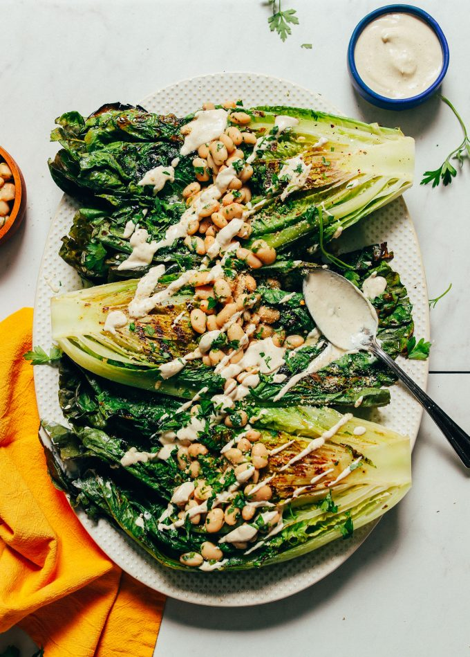Grilled Romaine Caesar Salad with Herbed White Beans (30 Minutes!)