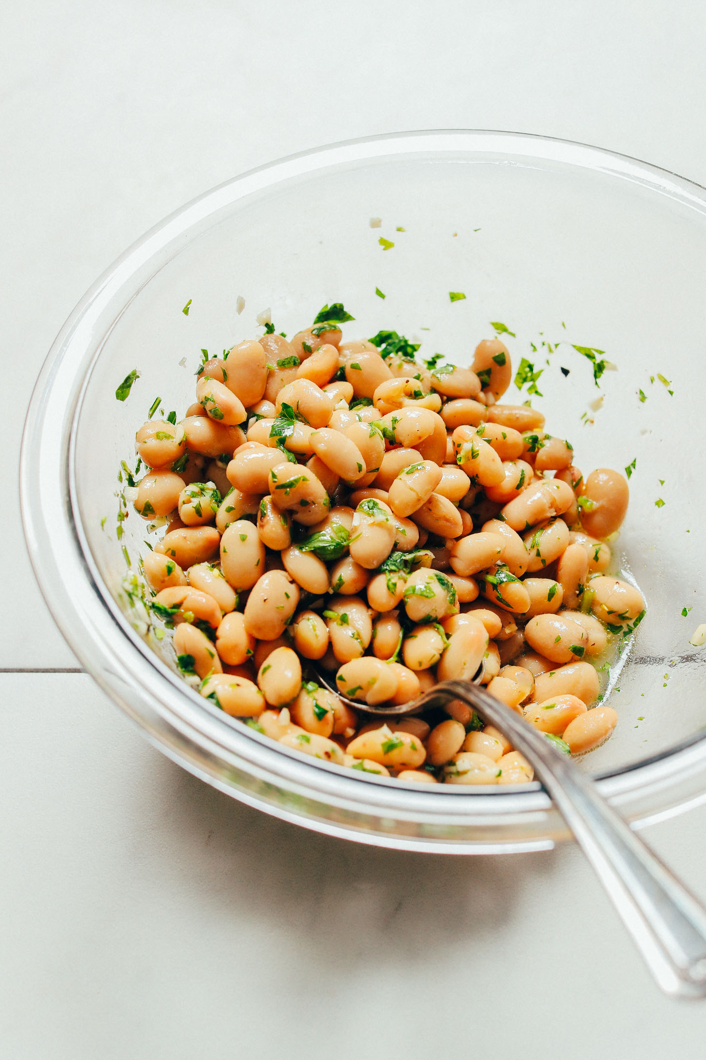 Bowl of Herbed Beans for topping our Grilled Romaine Salad recipe