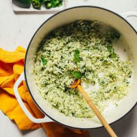 Cooking Mexican-inspired Easy Green Cauliflower Rice in a dutch oven