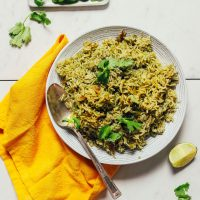Big bowl of Mexican-inspired Green Rice topped with fresh cilantro