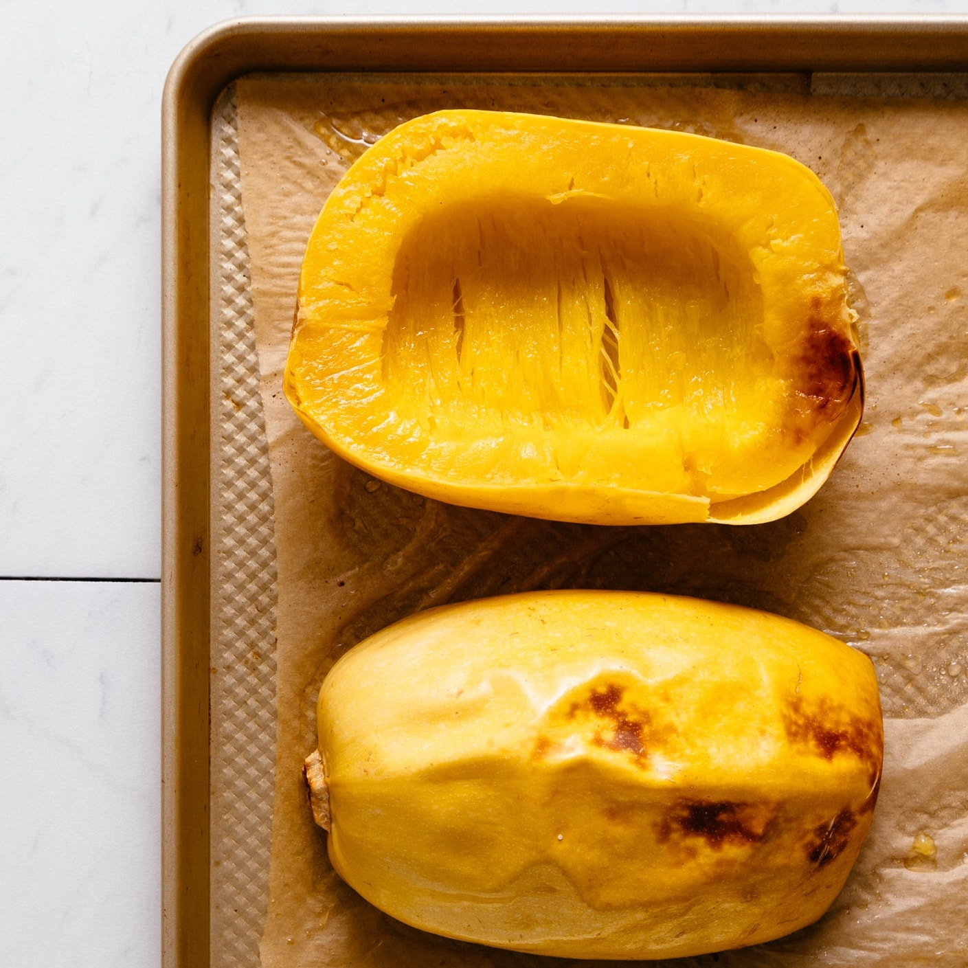Perfectly roasted spaghetti squash made with our How to Roast Spaghetti Squash Tutorial