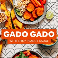 Tray and plate of Gado Gado made with Spicy Peanut Sauce with text overlaid stating the recipe title