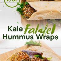 Wood cutting boards with open and closed Kale Falafel Hummus Wraps for a simple vegan meal