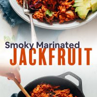 Pan and bowl of Smoky Shredded Marinated Jackfruit