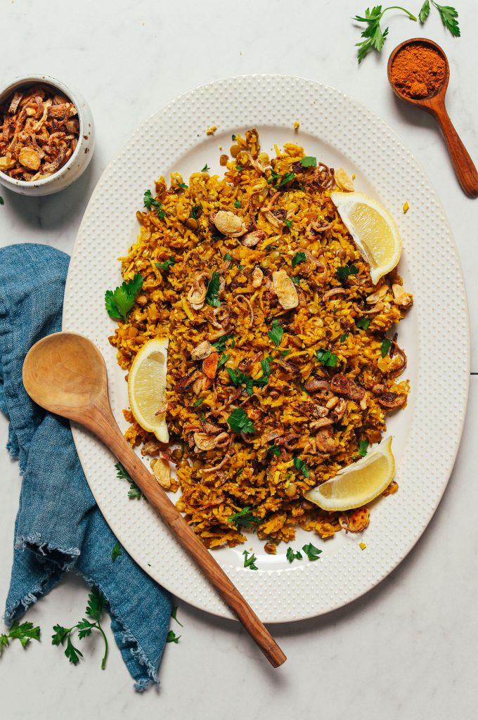 Curried Cauliflower Rice with Lentils & Crispy Shallot (Mujadara-Inspired)