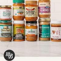 Assorted brands of almond butter for our review of the best natural almond butter brands